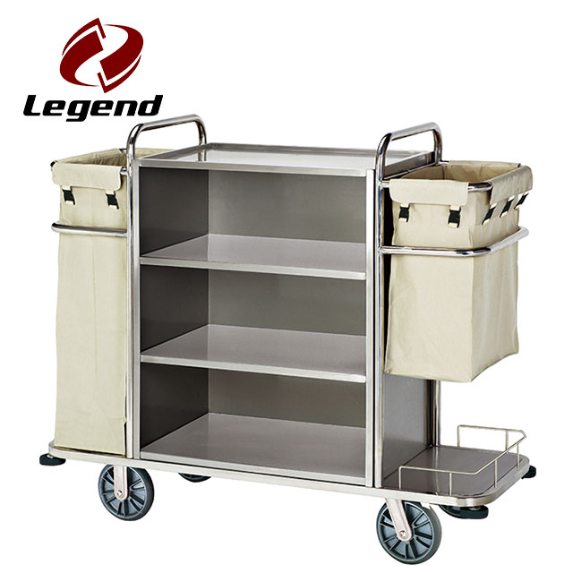 Kitchen Serving Trolley Stainless Steel Hotel Cart Storage Cart Laundry Hotel Cleaning Cart Service Car Trolley with Wine Rack